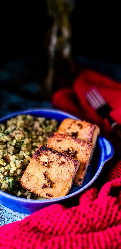 Szpinak kalafior tofu